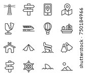 thin line icon set   lighthouse ... | Shutterstock .eps vector #750184966