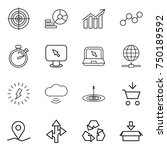 thin line icon set   target ... | Shutterstock .eps vector #750189592