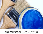 paint bucket and paintbrush - stock photo