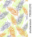seamless pattern with palm... | Shutterstock .eps vector #750201292