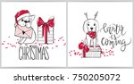 Stock vector merry christmas illustrations funny dogs vector greeting cards with french bulldog and labrador 750205072