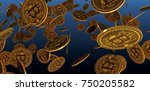 many gold bitcoins laying on... | Shutterstock . vector #750205582