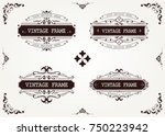 set of vintage frame with... | Shutterstock .eps vector #750223942