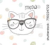 Stock vector hand drawn cute funny cartoon vector cat print 750224722