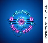 happy new year blue pink neon... | Shutterstock .eps vector #750225982