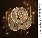 bitcoin conceptual background... | Shutterstock .eps vector #750230812