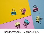colored binder clips over... | Shutterstock . vector #750234472