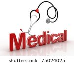 the medical stetoskop on a... | Shutterstock . vector #75024025