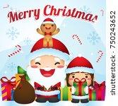 santa celebrating christmas... | Shutterstock .eps vector #750243652