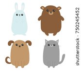 cartoon dog  cat  bear grizzly  ... | Shutterstock .eps vector #750245452