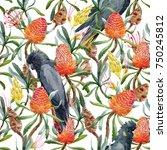 tropical watercolor pattern... | Shutterstock . vector #750245812