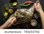 raw lamb leg  marinated with... | Shutterstock . vector #750253702