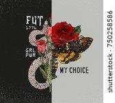 girl power  my body  my choice... | Shutterstock .eps vector #750258586