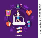 fitness round composition with... | Shutterstock .eps vector #750258856