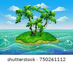 exotic island with palm trees... | Shutterstock .eps vector #750261112
