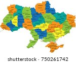 colorful ukraine political map... | Shutterstock .eps vector #750261742