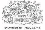 the word happy holiday in...   Shutterstock .eps vector #750263746