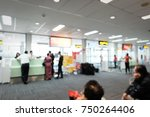 blur image of airport hall...   Shutterstock . vector #750264406