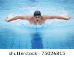 Dynamic And Fit Swimmer In Cap...