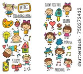 kids drawing kindergarten... | Shutterstock .eps vector #750273412