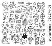kids drawing kindergarten... | Shutterstock .eps vector #750274405