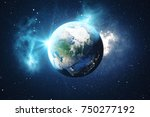 3d rendering world globe from... | Shutterstock . vector #750277192