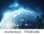 3d rendering network and data... | Shutterstock . vector #750281386