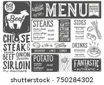 steak menu for restaurant and... | Shutterstock .eps vector #750284302