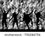 dancing people silhouettes.... | Shutterstock .eps vector #750286756