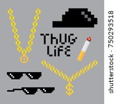 Stock vector thug life style pixel set with golden chain black glasses hat and cigarette vector illustration 750293518