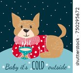 winter greeting card with cute... | Shutterstock .eps vector #750295672