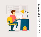 boy is doing his homework. flat ... | Shutterstock .eps vector #750297022