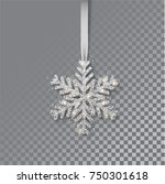 snowflakes on a ribbon.... | Shutterstock .eps vector #750301618