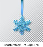 Snowflakes on a ribbon. Greeting card, invitation with happy New year 2018 and Christmas. Metallic blue Christmas snowflake, decoration, shimmering, shiny confetti. Vector Illustration