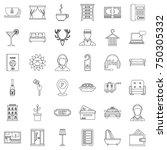 receptionist icons set. outline ... | Shutterstock .eps vector #750305332