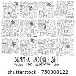 set of summer illustration hand ... | Shutterstock .eps vector #750308122