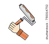 hand  with  paint roller    ... | Shutterstock .eps vector #750314752
