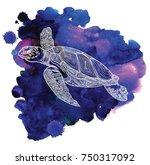 the sea turtle swims.... | Shutterstock .eps vector #750317092