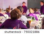 school children are... | Shutterstock . vector #750321886