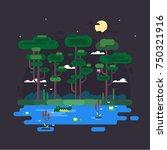 illustration of a swamp. flat...   Shutterstock .eps vector #750321916