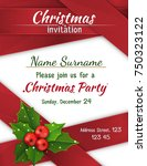 christmas invitation with satin ... | Shutterstock .eps vector #750323122