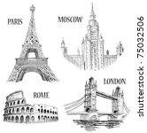 european cities symbols sketch  ...   Shutterstock .eps vector #75032506