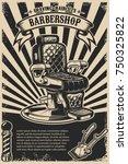 barber shop poster template.... | Shutterstock .eps vector #750325822