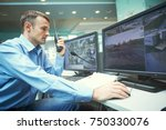security worker during... | Shutterstock . vector #750330076