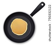 realistic pancake in the frying ... | Shutterstock .eps vector #750332122