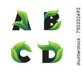 set of letters icons with green ... | Shutterstock .eps vector #750332692
