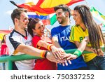 happy supporters from different ... | Shutterstock . vector #750337252