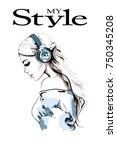 beautiful young woman profile.... | Shutterstock .eps vector #750345208