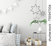mock up the christmas interior... | Shutterstock . vector #750347326
