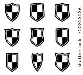 shield checkered icons set | Shutterstock .eps vector #750353536